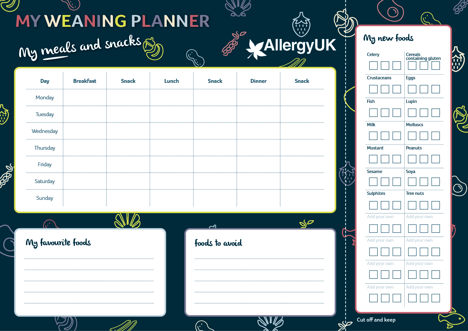 Weaning Meal Planner