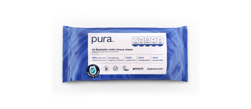 Pura 100% Plastic-Free, Biodegradable Baby Wipes